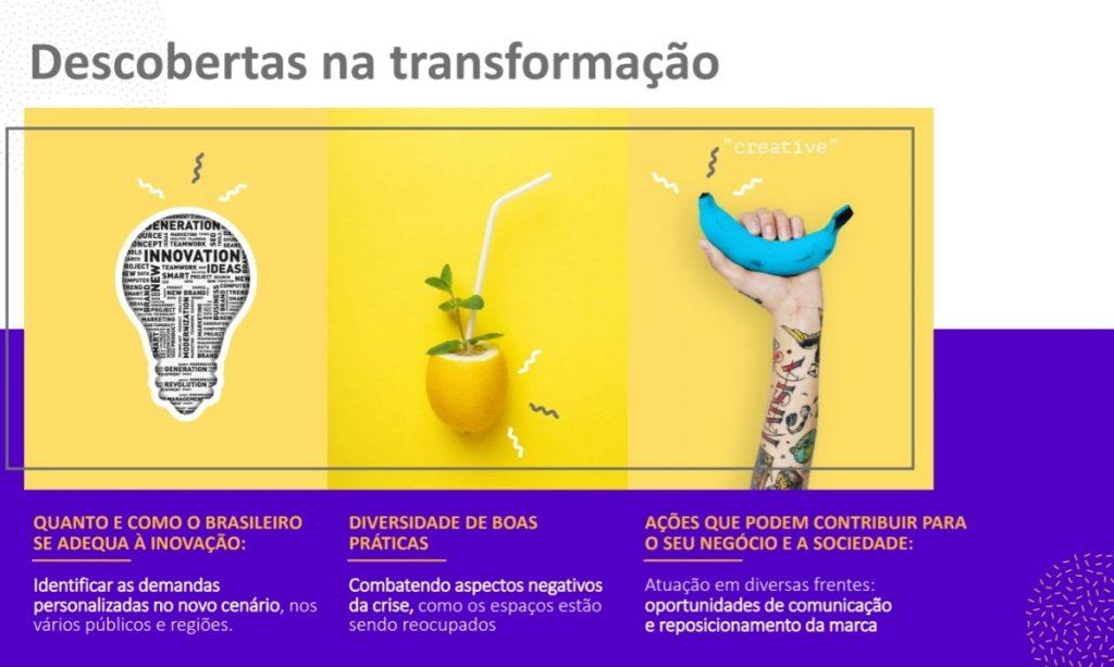 Lâmpada, drinque em fruta e braço com banana azul citam inovação, boas práticas e marcas solidárias